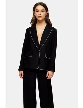 Petite Black Diamante Trim Suit by Topshop