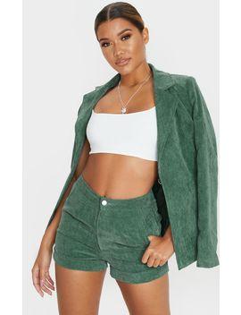 Green Cord Denim Shorts by Prettylittlething