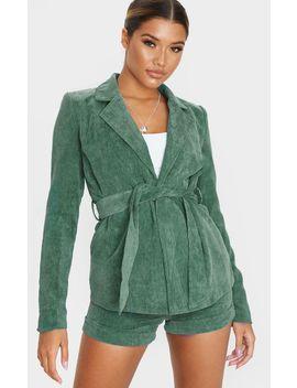 Green Cord Tie Waist Blazer Jacket  by Prettylittlething