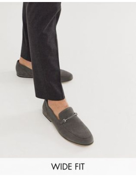 Asos Design Wide Fit Loafers In Gray Faux Suede With Snaffle Detail And Black Sole by Asos Design