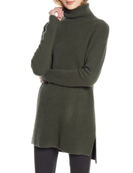 High/Low Tunic Turtleneck Cashmere Sweater by Halogen®