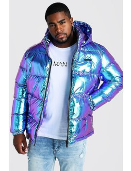 Big & Tall Metallic Puffer Jacket by Boohoo
