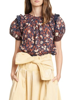 Arbor Floral Puff Sleeve Top by Ulla Johnson