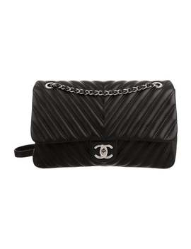 Chevron Double Stitch Jumbo Flap Bag by Chanel