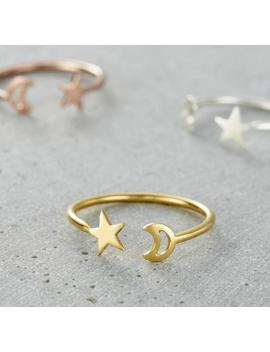 Moon And Star Open Ring by Etsy