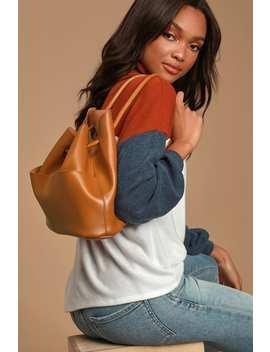 Uptown Girl Cognac Backpack by Lulus