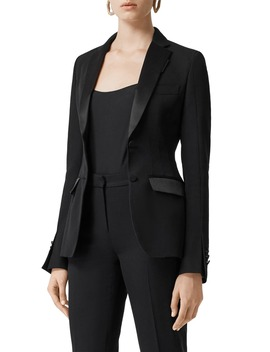 Otelia Satin Trim Wool Tuxedo Jacket by Burberry