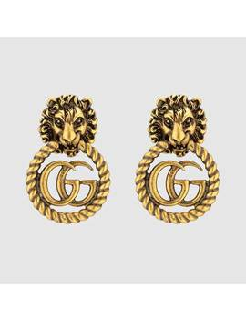Lion Head Earrings With Double G by Gucci