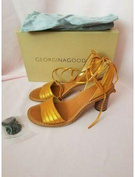 Georgina Goodman Mist Orange Sparkle Misty Suede Tall Sandal $208~Size 36.5 by Georgina Goodman