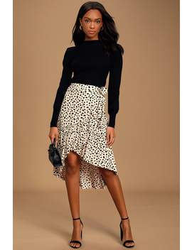 Daring Ambition Beige Leopard Print High Low Ruffled Wrap Skirt by Moon River