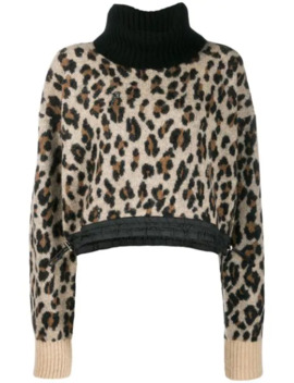 Leopard Roll Neck Sweater by Sacai