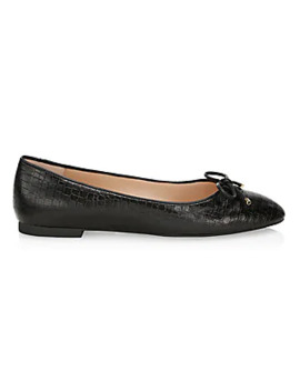 Gabby Croc Embossed Leather Ballet Flats by Stuart Weitzman