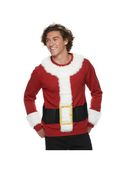 Men's Santa Christmas Sweater With Beverage Holder by Licensed Character