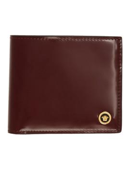 Burgundy Patent Medusa Bifold Wallet by Versace