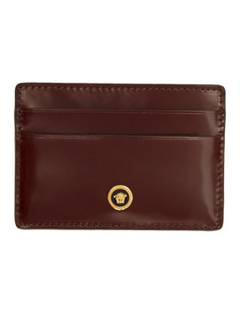Burgundy Patent Medusa Card Holder by Versace