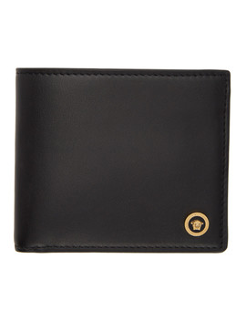 Black Icon Bifold Wallet by Versace