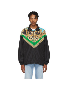 Green & Blue Barocco Track Jacket by Versace