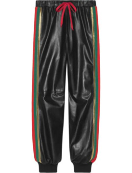 Leather Jogging Pant With Web by Gucci