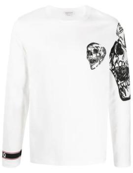 Skull Print Longsleeved T Shirt by Alexander Mc Queen