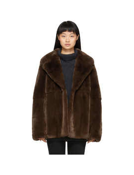 Brown Rex Rabbit Fur Jacket by Yves Salomon