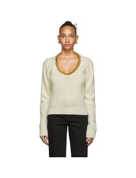 Off White & Gold Chain Sweater by Bottega Veneta