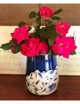 Blue Floral Vase by Etsy