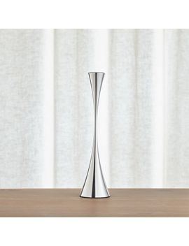 Arden Medium Mirrored Stainless Steel Taper Candle Holder by Crate&Barrel