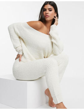 Asos Design Lounge Mix &Amp; Match Chenille Off Shoulder Sweater And Legging by Asos