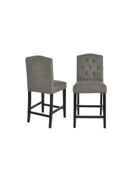 Beckridge Ebony Wood Upholstered Counter Stool With Back And Charcoal Seat (Set Of 2) (18.11 In. W X 40 In. H) by Style Well