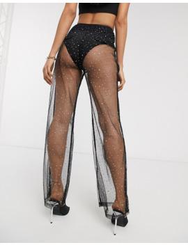 Public Desire Trousers In Sparkle Mesh by Public Desire