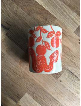 Snake Mug With Oranges | Snake Sgraffito Design by Etsy