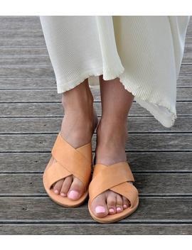 Greek Sandals, Greek Leather Sandals ''milos'', Slide Sandals, Leather Sandals, Criss Cross Sandals, X Strap Sandals by Etsy