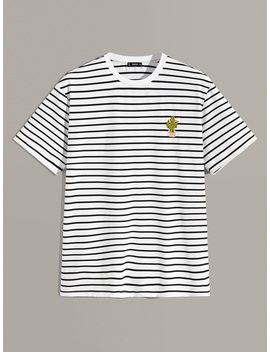 Guys Striped Print Embroidered Detail Tee by Romwe
