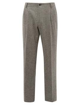 High Rise Wool Blend Tweed Trousers by Dolce & Gabbana