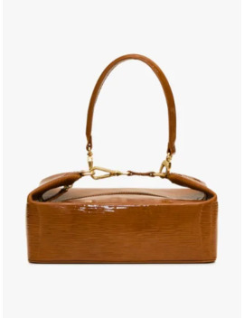 Brown Olivia Patent Leather Box Bag by Rejina Pyo