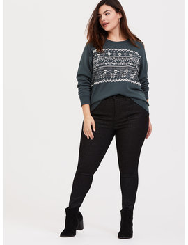 Dark Green Fleece Skull Fair Isle Holiday Sweatshirt by Torrid
