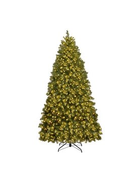 Costway 6 Ft/7 Ft/8 Ft Pre Lit Pvc Christmas Tree Spruce Hinged 560/700/880 Lights by Costway