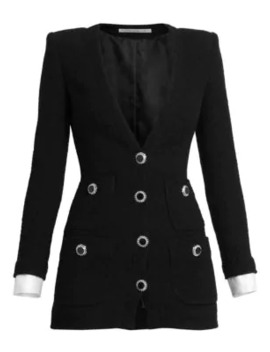 Dressing For Pleasure V Neck Tweed Mini Dress by Alessandra Rich