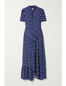Ruched Printed Crepe Midi Dress by Self Portrait