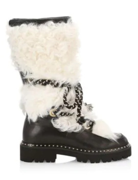 Mary Shearling Trimmed Leather Mid Calf Boots by Montelliana 1965