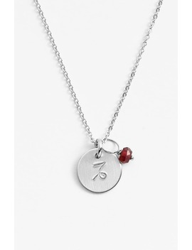 Semiprecious Birthstone Sterling Silver Zodiac Mini Disc Necklace by Nashelle