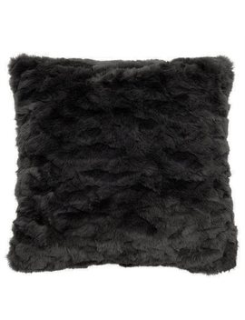"Textured Faux Fur Pillow Cover – Soft Charcoal, 18"" X 18"" by Indigo"