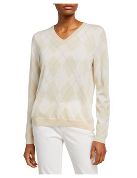 Argyle Cashmere Sweater With Metallic by Lafayette 148 New York
