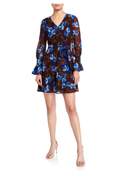Neiman Marcus Faux Wrap Fit & Flare Dress by Neiman Marcus