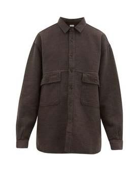 Oversized Textured Cotton Blend Shirt by Raey