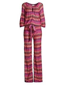 Jet Set Jungle Exploration Chevron Stripe Drawstring Jumpsuit by Trina Turk