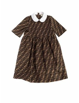 Milano Fabric Dress In Tobacco Color by Fendi Jr