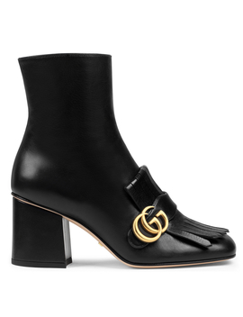 Leather Heeled Ankle Boots With Double G by Holt Renfrew