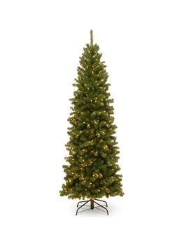 7 Ft. North Valley Spruce Pencil Slim Artificial Christmas Tree With Clear Lights by National Tree Company