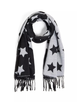 Black & Light Grey Star Fringe Scarf by Torrid